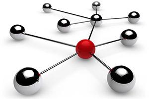 ImprendiNews.com – Sfere d'acciaio unite da tondi d'acciaio creano un'ideale reticolo di realtà interagenti con un soggetto promotore: la sfera rossa