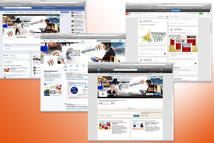 ImprendiNews – Screenshot delle pagine Social di ImprendiNews